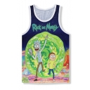 Digital Cartoon Character Printed Sleeveless Round Neck Sports Tank Top