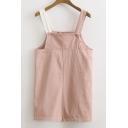Summer's Contrast Straps Basic Shift Mini Overall Dress