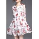 Elegant Cold Shoulder Tied Round Neck Half Sleeve Floral Printed Mini A-Line Dress