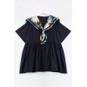 Contrast Naval Collar Short Sleeve Mini Smock Dress