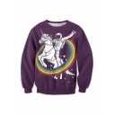 New Arrival 3D Rainbow Knight Printed Round Neck Long Sleeve Pullover Sweatshirt