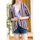 Classic Vertical Striped Printed 3/4 Sleeve Open Front Oversize Sun Protection Coat