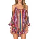 New Arrival Chic Ruffle Hem Spaghetti Straps Cold Shoulder Striped Printed Mini Beach Dress