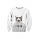 Funny Cartoon Cat Letter Printed Round Neck Long Sleeve Pullover Sweatshirt