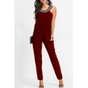 Sleeveless Sequined Collar Elastic Waist Chic Jumpsuits