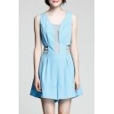 New Fashion Hollow Out Sleeveless V Back Plain Leisure Loose Rompers