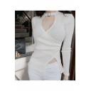 Women's Cutout V-Neck Asymmetric Hem Wrap Front Long Sleeve Plain T-Shirt