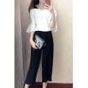 Flare Sleeve Cold Shoulder Fake Two-Piece Top with Plain Wide Legs Pants