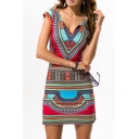 Summer's V Neck Cap Sleeve Tribal Printed Mini Bodycon Dress
