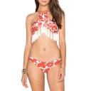Women's Halter Tassel Color Block Printed Bikinis