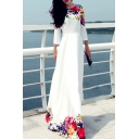 Elegant Floral Printed 3/4 Length Sleeve Maxi A-Line Dress