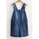 Fashion Straps Sleeveless Embroidery Polka Dots Denim Overalls