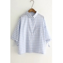 Loose Single Breasted Lapel 3/4 Length Sleeve Plaid Shirt