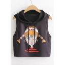 Cartoon Girl Pattern Hooded Sleeveless Pullover Cropped Cotton Tee