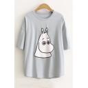 Lovely Cartoon Hippo Printed Short Sleeve Round Neck Tee