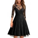 Elegant Lace Round Neck 3/4 Length Sleeve Keyhole Back Plain Midi A-Line Dress