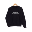 Simple Letter Printed Round Neck Long Sleeve Pullover Comfort Sweatshirt