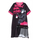 New Arrival Round Neck Short Sleeve Letter Animal Print Sheer Mesh Patched Hem Midi T-Shirt Dress