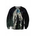 New Arrival 3D Alien Printed Long Sleeve Round Neck Loose Pullover Sweatshirt