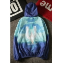 New Arrival Ombre Letter U Printed Long Sleeve Hooded Unisex Coat