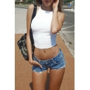 Summer's Hot Fashion Halter Neck Plain Cropped Fitted Tank Top