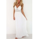 Women's Halter V-Neck Sleeveless Cutout Waist Open Back Plain Maxi Dress