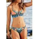 Color Block Geometric Printed Halter Neck Lace Up Cut Out Bikini Swimwear