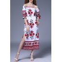 Floral Printed Off the Shoulder Half Sleeve Split Side Maxi Smock Dress