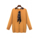New Arrival Oversize Scarf Embellished Round Neck Long Sleeve Plain Pullover Sweater