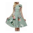 Glamorous Sleeveless Round Neck Floral Printed Midi Fit & Flare Dress