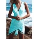 Sexy New Stylish Sleeveless V-Neck Tassel Plain Wrap Asymmetric Dress