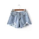 Summer's Hot Fashion Ripped Fringe Trim Denim Shorts