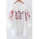 Floral Embroidered Boat Neck Long Sleeve Leisure Mini Swing Dress