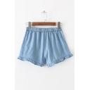 Simple Ruffle Hem Elastic Waist Plain Denim Shorts