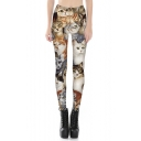 Lovely Cartoon Cat Printed Elastic Waist Sexy Skinny Leggings