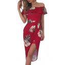 Sexy Off The Shoulder Ruffle Hem Floral Printed Split Front Asymmetrical Dress