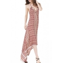 Boho Style Halter Neck Tribal Printed Holiday Asymmetrical Slip Dress