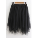 Summer Arrival Elastic Waist Plain Mesh Asymmetric Skirt