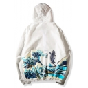 Chinese Style Carp Wave Printed Long Sleeve Hooded Fashion Sun Protection Coat