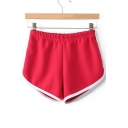 Fashion Contrast Trim Elastic High Waist Sport Shorts