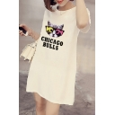 Lovely Cartoon Cat Letter Printed Short Sleeve Round Neck Mini T-Shirt Dress