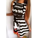 Summer Arrival Cartoon Mickey Mouse Letter Printed Striped Color Block Sleeveless Mini Dress