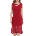 Slim Sleeveless Lace Patchwork Hem V-Neck Plain Midi Flare Party Dress