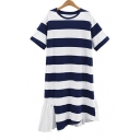 Round Neck Short Sleeve Striped Print Ruffle Patched Hem Midi Asymmetrical Dress