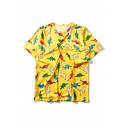 Cartoon Dinosaurs Pattern Round Neck Short Sleeve Leisure Graphic Tee