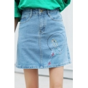 Embroidered High Waist Summer's Mini A-Line Denim Skirt