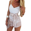 Fashion Spaghetti Straps Plain Cami with a Belt Waist Shorts