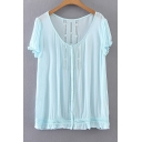 Summer's Simple Plain V Neck Short Sleeve Chiffon Pullover Blouse