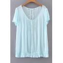 Summer's Simple Plain V Neck Short Sleeve Chiffon Pullover Blouse
