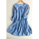 Fashion Embroidery Floral Pattern V-Neck Long Sleeve Mini Denim Dress